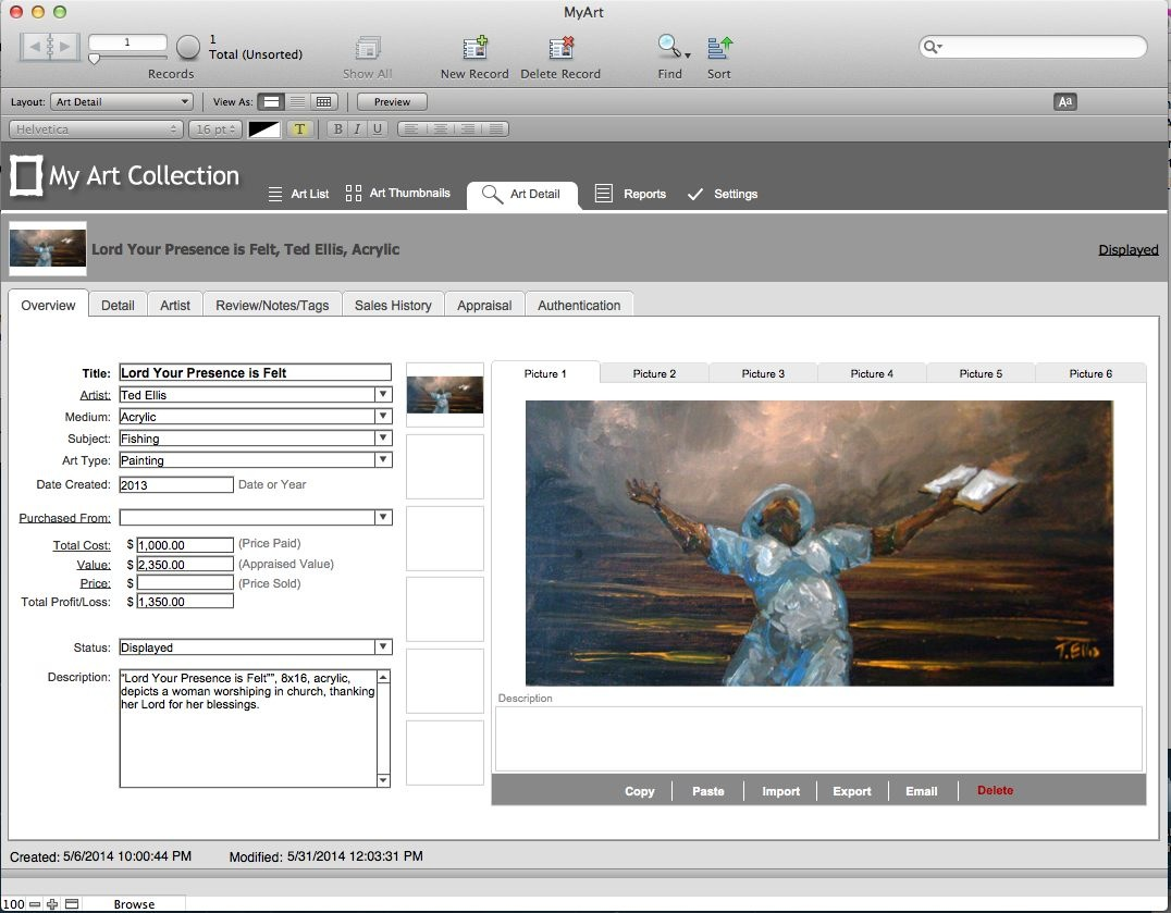 My Art Collection Software Manage Your Collection